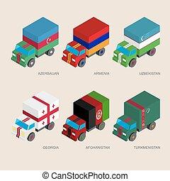 Set of isometric 3d cargo