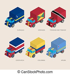 Set of isometric 3d cargo
