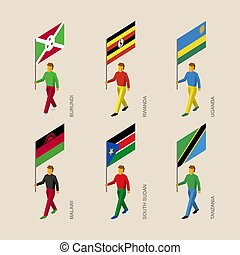 Set of isometric 3d people with flags of African countries