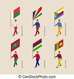 Set of isometric 3d people with flags of countries in Indian ocean