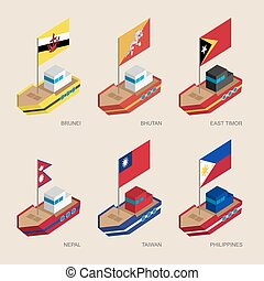 Set of isometric 3d ships with flags of Asian countries