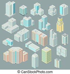 set of isometric  building icon