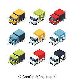 Set of isometric cartoon-style cargo cars