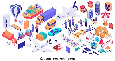 Set of isometric delivery service concept isolated on white background