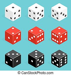 Set of isometric dice combination. Red, white and black poker cubes vector isolated.