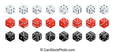 Set of isometric dice combination. Red, white and black poker cubes vector isolated. Collection of gambling app and casino template
