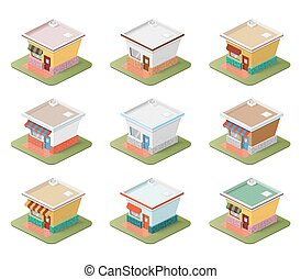 Set of isometric houses.