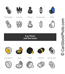 Set of isometric icons in otline style, colored and black...