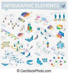Set of isometric infographics design elements - Isometric...