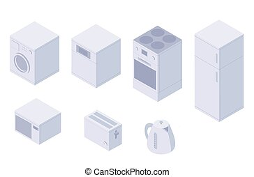 Set of isometric kitchen home utilities. A washing machine, dishwasher, oven, stove, fridge, microwave, toster, kettle.
