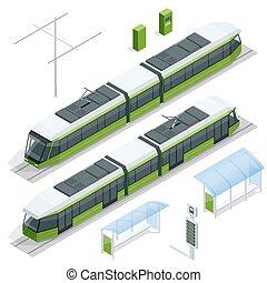 Set of isometric passenger Tram Train, Streetcar City ...
