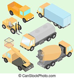 Set of isometric road construction machinery. Trucks, road roller, wheel loader, tank, lift machine. Front and back view.