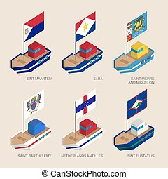 Set of isometric ships with flags of Caribbean countries