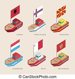 Set of isometric ships with flags of Central Europe