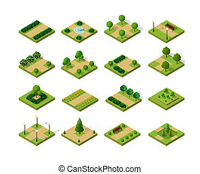 A set of isometric urban parks. City natural ecological landscapes of town infrastructure. Trees, lawns, garden paths and benches, the dimensional kit of designer items for the construction of a conceptual project design