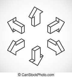 set of isometric vector arrows