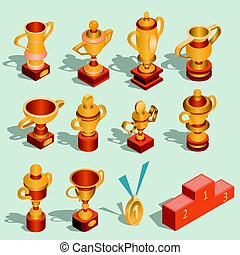 Set of isometric vector illustrations of gold trophy cups and awards