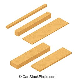 Set of isometric wooden planks, stack of bars and lumber beam, pile of wooden logs timber. Planks for construction vector flat illustration