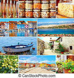 Set of Istrian, Croatia. Adriatic landscape. Popular places and