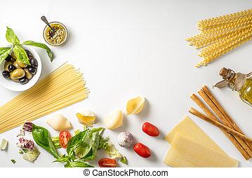 Set of Italian food on the white background