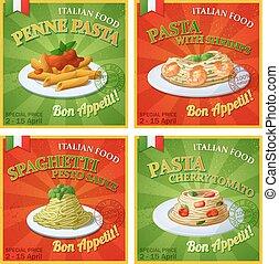Set of Italian pasta posters. Cartoon vector illustration