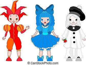 Harlequin, Pierrot, Columbina - Set of italian theatre...