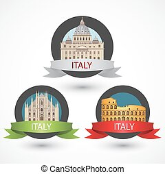 Set of Italy famous monuments. Milan Cathedral, The Colosseum and St. Peter's Basilica.