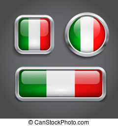 Italy flag glass buttons