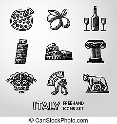 Set of Italy freehand icons - pizza, olives, wine, Pisa Tower, Colosseum, Column, venecian mask, Legionnaires Helm, Lupa Capitolina. Vector