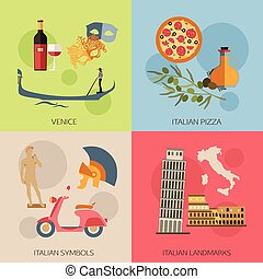 Set of Italy travel compositions with place for text. Venice, Italian Pizza, Symbols, Landmarks. Set of colorful flat icons for your design.