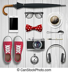 Set of items and accessories for the student and hipster. Lying