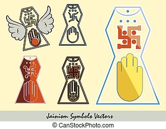 Set of Jainism Symbols Vector Illustration