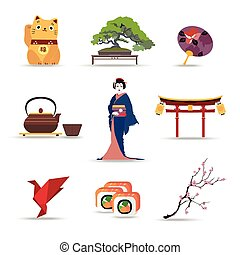 Set of Japan isolated travel colorful flat icons. - Set of...