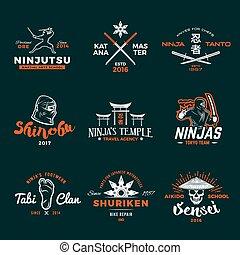 Set of Japan Ninja Logo. Ninjato sword insignia design. Vintage shuriken badge. Mixed martial art tournament t-shirt illustration on navy background