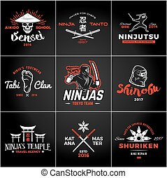 Set of Japan Ninjas Logo. Katana weapon insignia design. Vintage ninja mascot badge. Martial art Team t-shirt illustration concept.