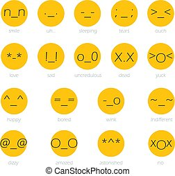 Set of japan style text Emoji Isolated on white. Vector illustration