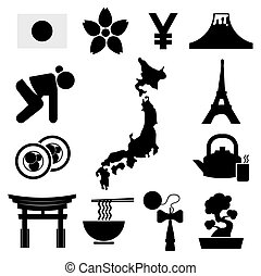 Set of Japan Symbol Icons