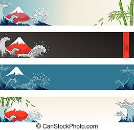 Cards with Fuji Mount, sea waves and bamboo tree