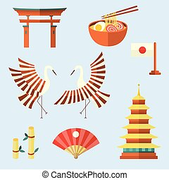 Set of Japanese culture symbols, icons, elements