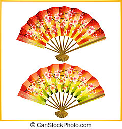 Set of Japanese fans over white - Set of colorful Japanese...