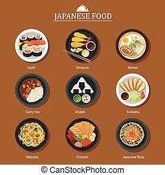 set of japanese food flat design