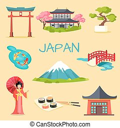 Japan touristic concept. Set of japaneses national cultural, culinary, architectural and nature symbols flat vector illustrations. Famous attractions for tourists in asian county collection