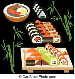 Set of Japanese rolls on a board and miso soup on bamboo black background