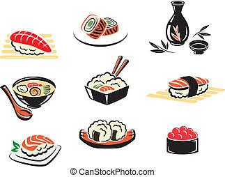 Set of Japanese seafood icons with , sushi, sashimi,...