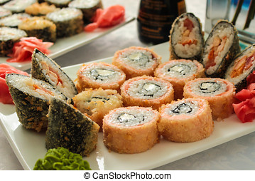 Set of Japanese sushi on a plate.