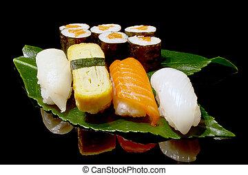 set of japanese sushi - sat of traditional japanese sushi