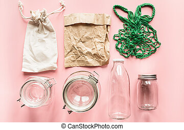 Set of jars and paper bag for zero waste storage and shopping. No Plastic.
