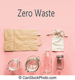 Set of jars and paper bag for zero waste storage and shopping.