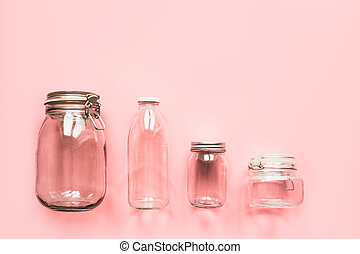 Set of jars for zero waste storage and shopping.