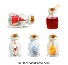 Set of jars, vector